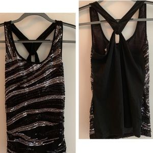 BRAND NEW/TAGS: Charlotte Russe Racer Sequin Tank